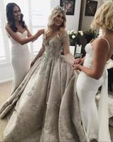 Wholesale wedding dress sequin back strap online - Luxury Arabic Long Sleeves Wedding Dresses New Elegant Sheer Neck Illusion Back Lace Beaded Crystals Bridal Gowns Custom Made