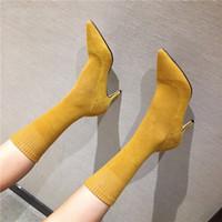 saltos de tecido amarelo venda por atacado-Calçados do inverno para das mulheres Mid Calf Botas tecido stretch Sock Botas Mulheres de salto alto Sexy Ladies Shoes 34-39 Amarelo Vermelho Verde Preto