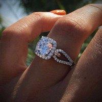 feines paar ring groihandel-Lady elegant Zirkonia Ring neue modische Zircon edlen Schmuck Paar Ringe Hochzeit Geschenk Top-Qualität neue Art und Weise