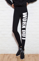 Wholesale Leggings - Women's Sexy Leggings Letter Printed Sport Girl Skinny Stretchy Pants Tight Fitting Elastic Slim Fitness Pencil Trousers