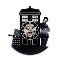decoraciones de vinilos al por mayor-Arte moderno 2019 Doctor Who Reloj de pared de vinilo Art Gift Room Modern Home Record Decoración Vintage