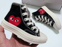 nokta ayakkabılar toptan satış-Çocuklar CDG Oynamak 1970 s Klasik Tuval Ortak Büyük Gözler Yüksek Üst Nokta Kalp Erkek ve Kız Paten Rahat Ayakkabılar Moda Tasarımcısı Sneakers 23-36