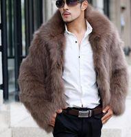 abrigo de solapa de piel para hombre al por mayor-Mens Fox de la piel capas de las chaquetas de invierno caliente grueso de la solapa del cuello masculinos Coats sólido suelta más el abrigo