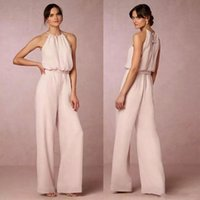 Wholesale chiffon jumpsuits suits for sale – dress Latest Pearl Pink Chiffon Pant Suit Bridesmaid Dresses Long Cheap Halter Floor Length Maid Of Honor Gowns Jumpsuits Custom Made BA8857
