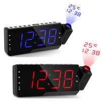 таймер температуры таймера оптовых-Цифровой радио будильник проекция повтор таймер температура светодиодный дисплей USB кабель для зарядки 110 градусов таблица настенные FM-радио часы