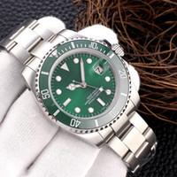 logotipo de marca famosa hombres reloj al por mayor-Famoso logotipo de la marca de lujo Original Sapphire Multicolor Mans relojes de pulsera 116610 Serial Silver Strap Reloj automático de movimiento