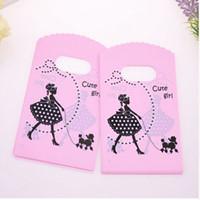 venta de bolsas de cumpleaños al por mayor-Venta caliente nueva venta al por mayor 500 unids / lote 9 * 15 cm rosa mini bolsas de compras de plástico con la muchacha linda de regalo de cumpleaños bolsas de embalaje