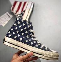 ingrosso tela di canapa bandiera eva-2019 Classic 1970s USA Flag Uomo Donna High-Top Taylor Canvas Scarpe casual senza scatola
