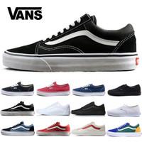 beyaz tuval ayakkabıları erkekler toptan satış-Ucuz Orijinal Vans Eski Skool Erkekler Kadınlar Rahat ayakkabı Koşu Ayakkabı Kulübü beyaz siyah Eğitmen Sneaker Kaykay tuval Spor 36-44