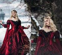 Wholesale princess dress nudes resale online - Gothic Sleeping Beauty Princess Medieval burgundy and Black Wedding Dress Long Sleeve Lace Appliques Victorian masquerade Bridal Gowns