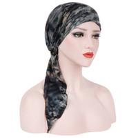 chapéu lenço bandana venda por atacado-Muslim Women suave Hat Turban Pré-Amarrado lenço de algodão Chemo Gorros Bonnet Caps Acessórios de cabelo Cancer Bandana Lenço na cabeça Enrole