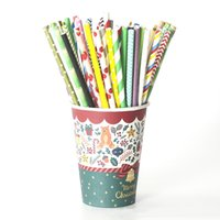 Wholesale colorful drinking paper straw resale online - Colorful Paper Straws Stripe Wave Point Solid for Wedding Party Event Juice Cocktail Drinking Straws HHA1153