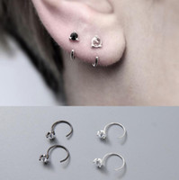 маленькая простая серьга оптовых-luxury jewelry S925 sterling silver stud earrings couple earrings small crystal clip earrings simple for couples hot fashion