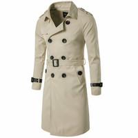 çift göğüslü trençkot ceket erkek kış toptan satış-Erkekler Kış Uzun Stil erkek Blazer Kruvaze Deri Trençkot Kış Giyim Rahat Ceket erkek Ceket Rüzgarlık