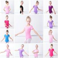 figurinos de ginástica venda por atacado-Crianças Ginástica Leotard Algodão Spandex Manga Curta Crianças Trajes de Dança Latina Ballet Dance Bodysuit Roupas de Exercício para Crianças HHA369