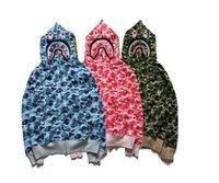 büyük kapüşonlu erkekler toptan satış-Sonbahar Erkekler Hoodies Kamuflaj Tişörtü Erkek Hoodie Şapka Hoody Büyük Cep Hip Hop Kapüşonlu Kaput Kazak Erkek Boyutu M-XXXL Pin