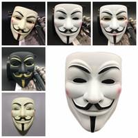 traje de los hombres al por mayor-V para Vendetta Máscara Masculina Femenina Decoraciones de fiesta Máscaras de cara completa Máscaras de disfraces Accesorios de película Mardi Gras Scary Horror Disfraz Máscara RRA2021