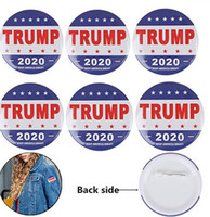 Wholesale red gemstone buttons resale online - Donald Trump Buttons Pins Keep America Great Round Brooch Pins Badge for Clothing Jeans Scarf Hat Bag Ornaments Presidential Election C