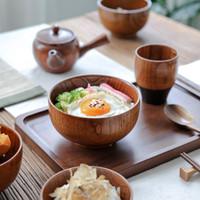 ingrosso ciotole di zuppe giapponesi-Ciotola di legno di stile giapponese Zuppa / insalata Ciotole di riso Ciotola di legno naturale Ciotole di gelato ecologiche