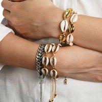 ingrosso perline delicate-Braccialetti di conchiglia color cipria color oro per le donne Corda delicata perline Bracciale a catena Braccialetto di fascino Boemia Beach Jewelry