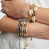 zarte armbänder großhandel-Gold Farbe Kauri Muschel Armbänder für Frauen Zarte Seil Kette Armband Perlen Bettelarmband Böhmischen Strand Schmuck