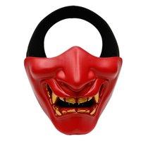 ingrosso denti spaventosi-Costume di Halloween Cosplay Denti cariati Demone malvagio Mostro Kabuki Samurai Mezza copertura Maschera Decorazione spaventosa per feste
