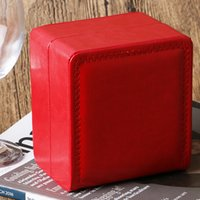 Wholesale women square wrist watch resale online - Luxury Red Leather Jewelry Display Organizer Wrist Watches Square Boxes Storage Gift Box Bangle Bracelet Case Women mm