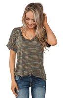 tasarımcılar kadın giyim toptan satış-Kadın İçin Kadın Yaz tişört Kız Giyim Derin V-Yaka Çizgili Baskılı Kısa Kollu Yaz Tasarımcı Gömlek