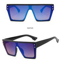 quadratische schutzbrille großhandel-Fashion Large Frame Sonnenbrillen Star Riveted Sonnenbrille für Frauen und Männer Square Frame One Pieces Goggles