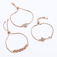Wholesale heart lobster clasp chain bracelet for sale - designer jewelry bracelets sets heart key charm bracelets box chain for women hot fashion free of shipping