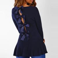 блузки длинные спины оптовых-2019 мода с длинным рукавом офис рубашка блузка женщины блузки назад лук повседневная О-образным вырезом топы Hollowout Blusas Femininas