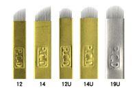 agujas al por mayor-EPACK Hard PCD 12/14/12/14 / 19u Pin Agujas de tatuaje Lamina Tebori Hard Microblading Maquillaje permanente Tatuaje de cejas Suministros