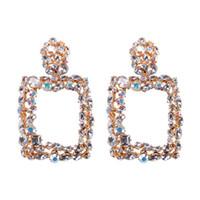 ingrosso ciondola i monili di cristallo dell'orecchino-Orecchini di cristallo colorati geometrici vintage grandi quadrati dichiarazione per orecchini orecchini gioielli moda donna goccia ciondola CE475