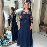 Wholesale mother dresses for sale - Group buy Dark Navy Mother of the Bride Dress Sheer Neck Sleeves Lace Chiffon Plus Size Wedding Guest Party Formal Evening Formal Gowns