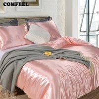 ingrosso doppio letto rosa della principessa-COMFEEL Set biancheria da letto in seta massiccia Copripiumino di lusso Copripiumino Copripiumino Princess Pink Twin Size Lenzuolo trapuntato Smooth Quilt