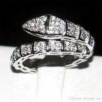 conjunto completo de la boda al por mayor-Marca Serpiente Anillo Moda 10KT oro blanco lleno Pavimentado lleno Diamante lleno anillos cz Boda de la joyería de la novia para las mujeres Tamaño 5-10