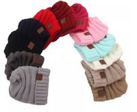 baby beanies schädel groihandel-Mode im Freien Kinder Winter warm halten cc Mütze Labeling Hüte Wolle stricken Schädel Designer Hut Outdoor-Sport-Kappen für Baby Kinder Kind FA3189