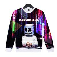 ingrosso donne del collare della camicia del maglione-Maglione di stampa 3D Full Size colletto tondo DJ Marshmello Outdoor Camicie uomo e donna Moda Personalità Home Abbigliamento 32hjE1