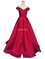 вечерние платья в стиле корсет оптовых-2019 Красное атласное платье с открытыми плечами A Line Sweep Поезд Корсет Назад Дубай Арабский стиль Вечерние платья для вечеринок