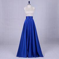 Wholesale blue halter long evening dresses resale online - Summer Necklace Satin ball dress with dew neckline length sexy elegant evening prom dress dew back dress
