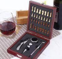 ingrosso set di regali di vino-Wine Opener Tool Set Cork Bottle Opener Kit con Scacchi Gift Box Cavatappi Scatola di legno vino Gift Set LJJK1959