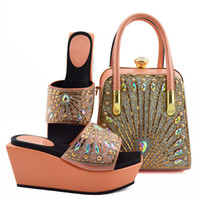 Wholesale colorful dress shoes for women for sale - Group buy New fashion peach women boat shoes match handbag set with colorful rhinestone decoration african pumps and bag for dress MD009 heel CM