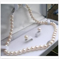 Genuine natural 6-7MM White Akoya Cultured Pearl Necklace Earrings Set 18/'/'