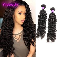 ingrosso malaysian wavy hair weave-Malesi Wet And Wavy 2 Bundles Estensioni dei capelli umani non trattati Due pacchi Estensioni dei capelli 8-28 pollici Wateer Wave Capelli ricci tesse
