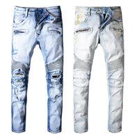 pantalones jogger azul hombre al por mayor-2019 Balmain Fashion New mens Biker Jeans motocicleta Slim Fit Washed azul Moto Denim flaco pantalones elásticos Joggers para hombres