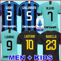 milan futbol üniformaları toptan satış-LUKAKU ALEXIS LAUTARO SKRINIAR Inter 2019 2020 Milan futbol forması GODIN BARELLA NAINGGOLAN formaları 18 19 20 futbol takımı tişörtleri