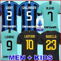 uniformes futebol milão venda por atacado-Mushup 20º aniversário ICARDI LAUTARO Martinez Inter 2019 2020 camisa de futebol de Milão PERISIC NAINGGOLAN campeão jerseys 18 19 20 camisa de jogo de futebol