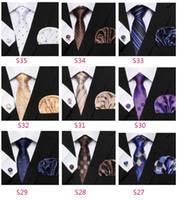taobao modelleri toptan satış-İpek Kravat Seti Puanl Stil Serisi Kravat Hanky Kol Düğmeleri Klasik İpek Jakar Dokuma Erkekler Tie Seti 8.5cm Genişlik İş JJ19965