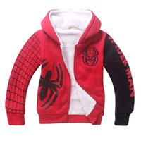 ingrosso cappotti invernali spiderman-2018 Ragazzi Spiderman Winter Jacket coat Bambini Fashion cartoon Fleece Hoodies Addensare felpe Warm Kids Hooded Clothes