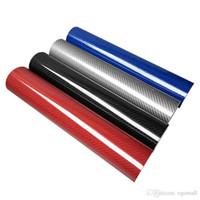 otomobiller için karbon fiber etiketler toptan satış-152 cm * 10 cm Yüksek Parlak 5D Karbon Fiber Sarma Vinil Filmi Motosiklet Tablet Etiketler Ve Çıkartmaları Oto Aksesuarları Araba Styling